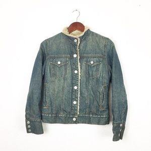 GAP Jackets & Coats - GAP Faux Fur Sherpa Denim Trucker Jacket